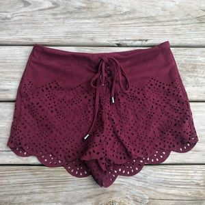 Forever 21 Maroon laser cut scalloped shorts